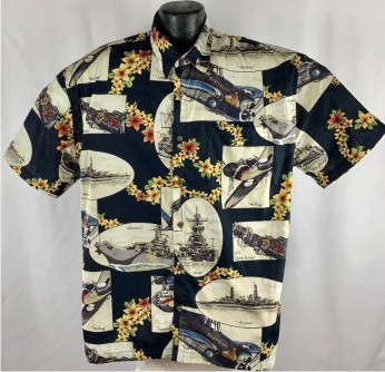 WWII Battleship , FIghter Plane, and bomber Hawaiian Shirt